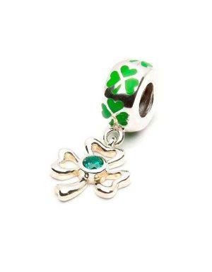 Sterling Silver Tara's Diary Green Shamrock Dangle Bead
