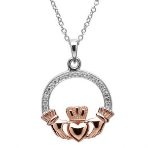 Claddagh Sterling Silver Rose Gold Plate Heart Necklace