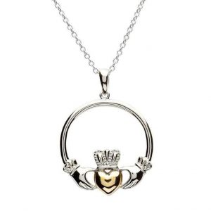 Claddagh Sterling Silver Gold Heart Pendant