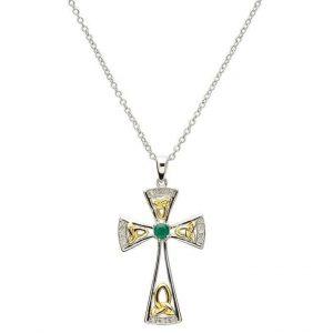 Shanore Celtic Emerald Diamond Cross