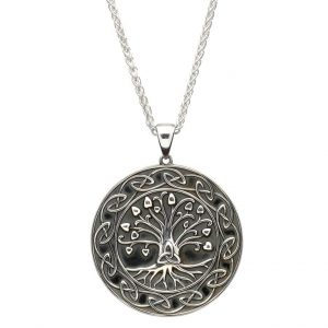 Sterling Silver Tree Of Life Trinity Medal Necklace
