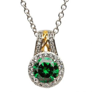 Sterling Silver Green CZ Halo Irish Necklace