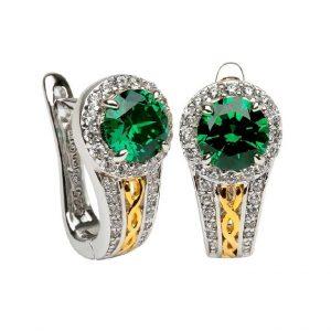 Sterling Silver Green Cz Halo Hoop Earrings