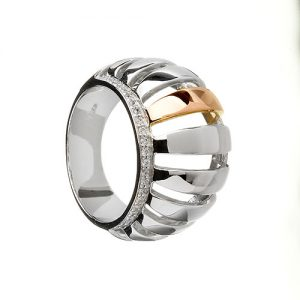 House of Lor Gold Silver Stone Set Dress Ring