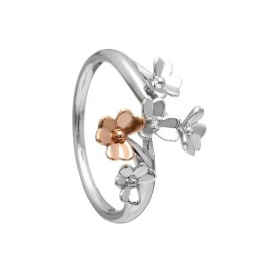 9ct Love Shamrock White & Rose Gold Diamond Ring