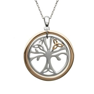 Sterling Silver Rose Gold Trinity Tree of Life Necklace