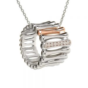 House Of Lor Sterling Silver Rose Gold Bar Pendant