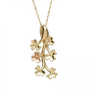 Love Shamrock Diamond 9ct Gold Spray Pendant