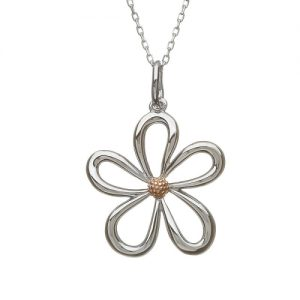 House of Lor Large Sterling Silver Gold Petal Pendant