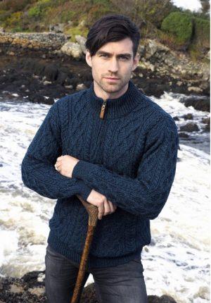 Aran Crafts Blackwatch Half Zip Aran Sweater
