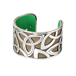 Celtic Bangle Trinity Knot Leather Irish Cuff Bracelet
