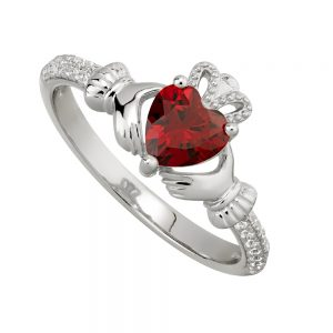 January Garnet Birthstone Claddagh Ring
