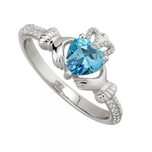 March Aquamarine Birthstone Claddagh Ring
