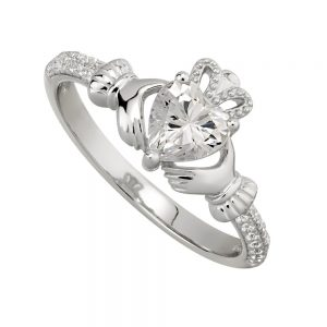 April Birthstone Claddagh Ring