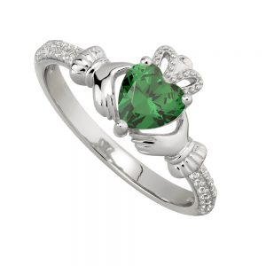 May Emerald Claddagh Birthstone Ring
