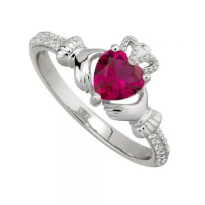 July Ruby Claddagh Birthstone Ring