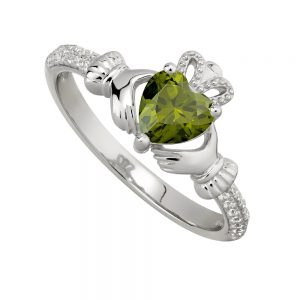 August Peridot Claddagh Birthstone Ring