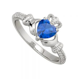 September Sapphire Claddagh Birthstone Ring