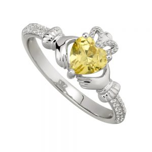 November Citrine Claddagh Birthstone Ring
