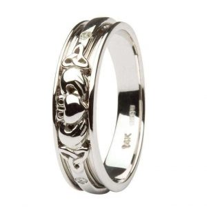 Ladies 14k White Gold Diamond Celtic Claddagh Band