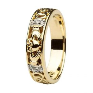 Ladies 14k Gold Claddagh Diamond Ring