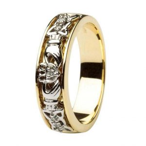 Claddagh Wedding Ring Two Tone Ladies Diamonds Set with Celtic Knotwork