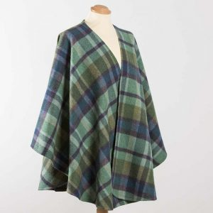 John Hanly Lambswool Irish Green Check Sue Cape - 624