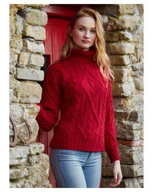 Aran Red Irish turtleneck sweater