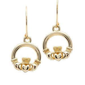 10k Gold Dangle Claddagh Earrings