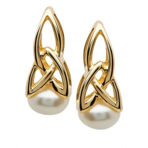Gold 10K Trinity Pearl Earrings