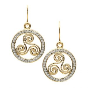 Gold 10K Celtic Swirl Stone Set Earrings