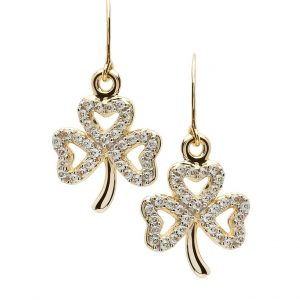 Gold 10K Shamrock Stone Set Earrings