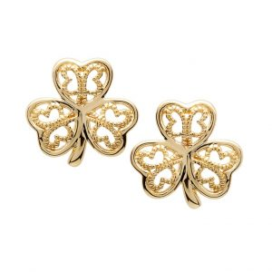 Gold 10K Shamrock Filigree Stud Earrings