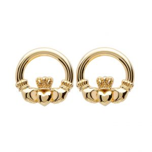 10K Gold Claddagh Stud Earrings