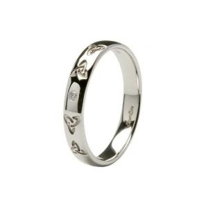 Ladies Celtic Embossed Pressure Set Diamond Wedding Ring