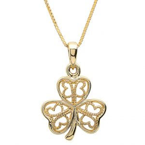 Gold 10K Filigree Shamrock Necklace