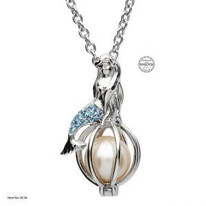 Shanore Silver Mermaid Pearl Pendant With Aquamarine Swarovski Crystals