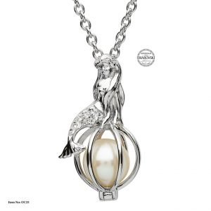 Shanore Silver Mermaid Pearl Pendant With White Swarovski Crystals