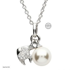Shanore Silver Fish Pearl Pendant With White Swarovski Crystal