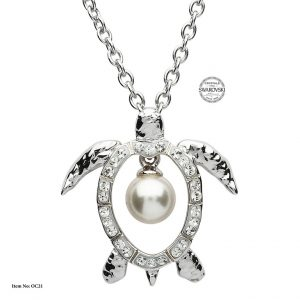 Shanore Sterling Silver Pearl Turtle Pendant - White Swarovski Crystal