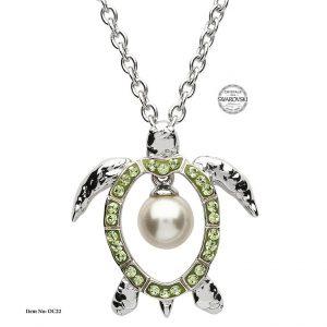 Shanore Sterling Silver Pearl Turtle Pendant - Peridot Swarovski Crystals