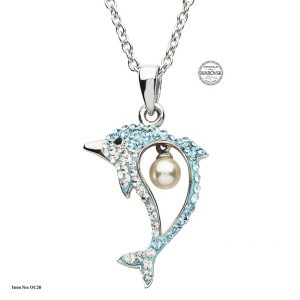 Shanore Silver Pearl Dolphin Pendant With Swarovski Crystal