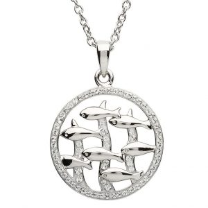 Sterling Silver Dolphin Pendant With White Swarovski Crystal