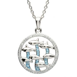 Shanore Sterling Silver Dolphin Pendant White & Aquamairne Swarovski Crystal