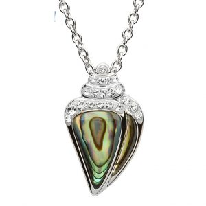 Shanore Silver Abalone Shell Pendant with White Swarovski Crystal