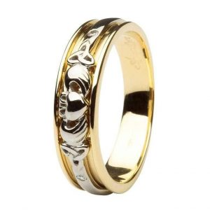 Ladies Gold Diamond Set Celtic Claddagh Wedding Band