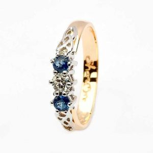 14k Gold Diamond & Sapphire 3 Stone Celtic Trinity Ring