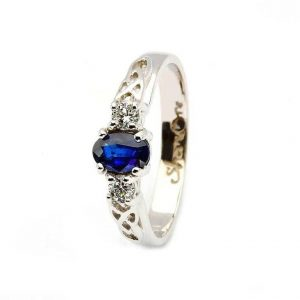 Oval Sapphire Diamond Celtic Trinity 14K White Gold 3 Stone Ring