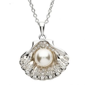 Shanore Pearl Sea Shell Pendant With White Swarovski Crystal