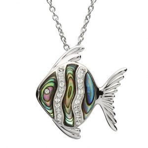 Shanore Silver Abalone Fish Pendant With White Swarovski Crystal